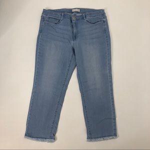 J. Jill Frayed Raw  Hem Cropped Jeans Size 12